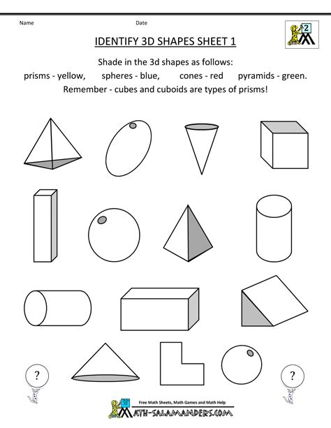shape pattern worksheets for 2nd grade 2nd grade geometry identify 3d shapes 1 gif 1 000 215 1 294