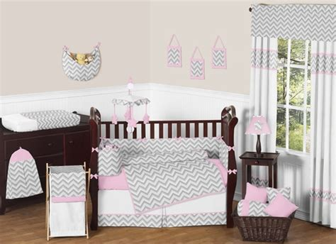 pink and gray chevron zig zag baby bedding 9pc crib set