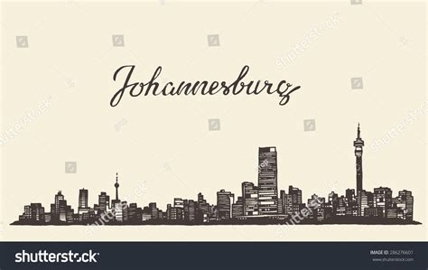 johannesburg skyline by oriel willemse i this city johannesburg skyline vintage vector engraved illustration