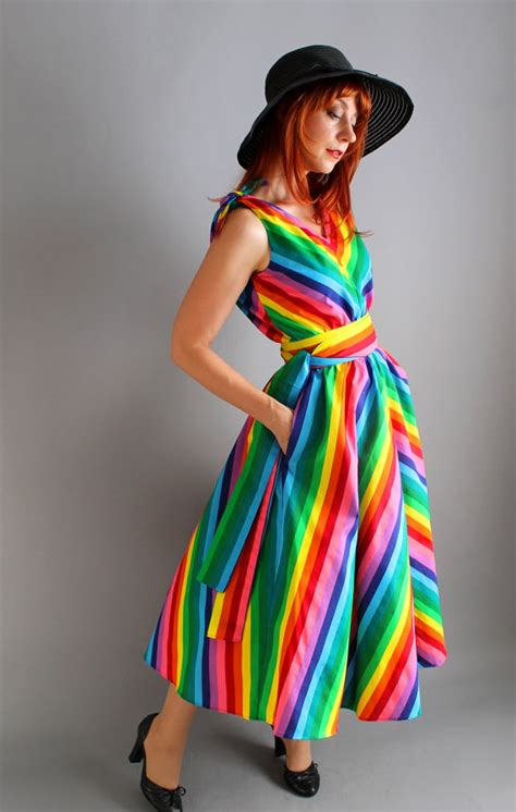 Handmade Designer Dresses - handmade cotton chevron rainbow dress day dress