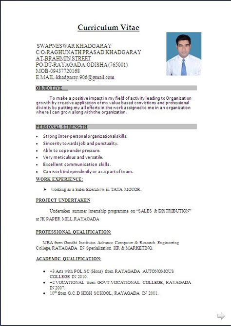 Model Resume Format by Resume Format Write The Best Resume