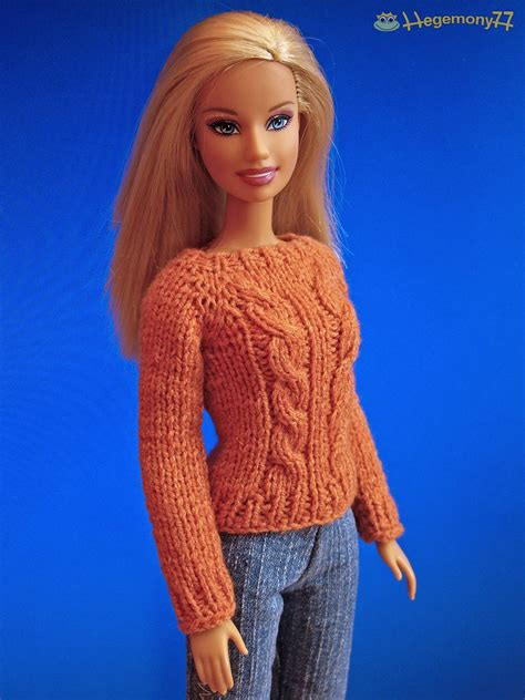 knitting pattern barbie clothes barbie in hand knitted terracotta sweater made by me