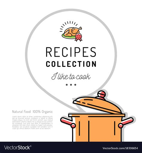 cookbook covers template recipe book menu template cookbook cover boiling vector image