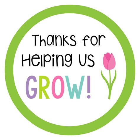 Thank You For Helping Us Grow Card flowers for gift idea squared