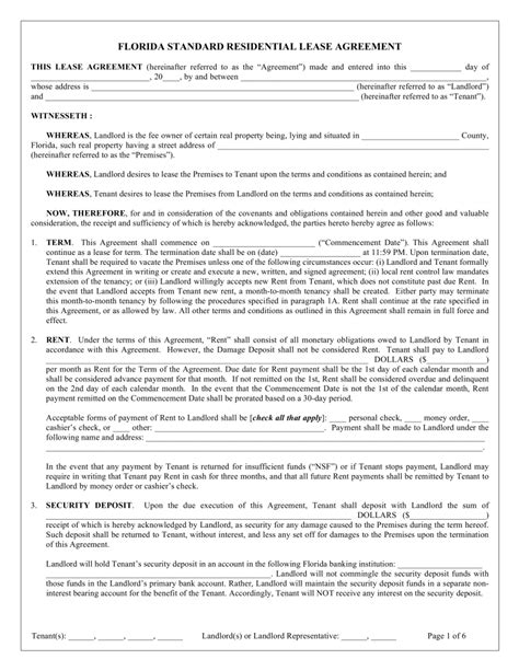Rental Agreement Template Florida by Free Florida Standard Residential Lease Agreement Template