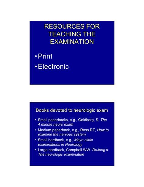 Cd E Book Dejong S The Neurologic Examination 7e teaching the neurologic examination in the 21