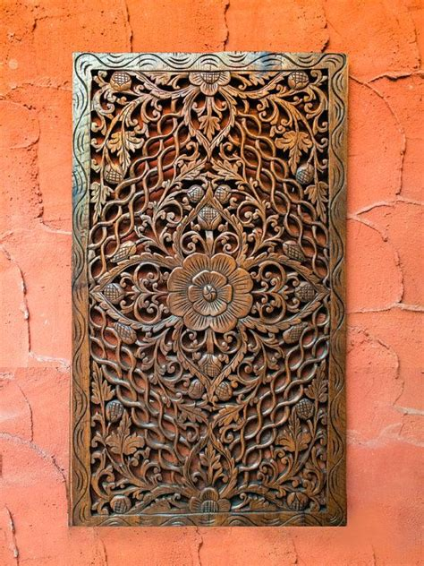 carved wood headboard wall panel or wall hanging a unique of indian style home decor