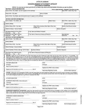 Acknowledgement Letter Paternity 2010 2017 Form La Vrr 44 3 P Fill Printable Fillable Blank Pdffiller