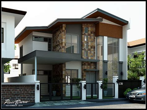 modern two storey house with streamline roof บ านสไตล โมเด ร น โดดเด นท การตกแต งส วนหน า พร อมหล งคา