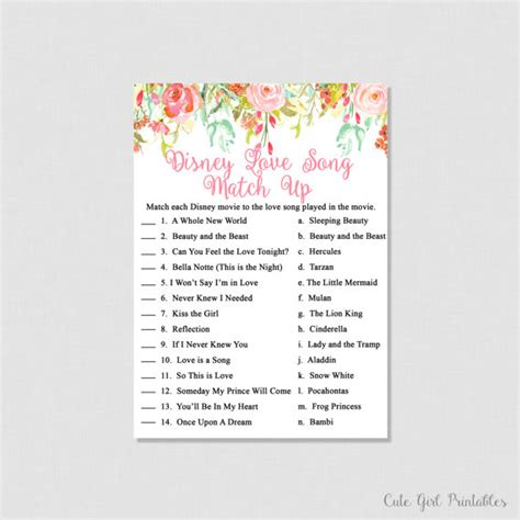 free printable disney bridal shower games bridal shower games disney game floral by cutegirlprintables
