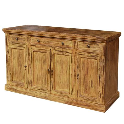 rustic hardwood 4 door sideboard storage cabinet buffet
