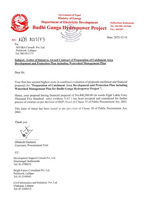 Letter Of Agreement For Project Budhi Ganga Hydropower Project