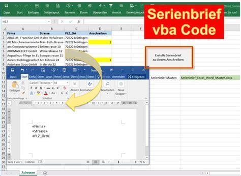 Brief Word Samenvoegen Adressen Excel Excel Word Mit Excel Einen Serienbrief In Word Erstellen Per Vba Code Programmierer Office 365
