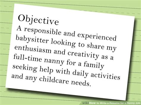 How To Write A Resume For A Nanny Position