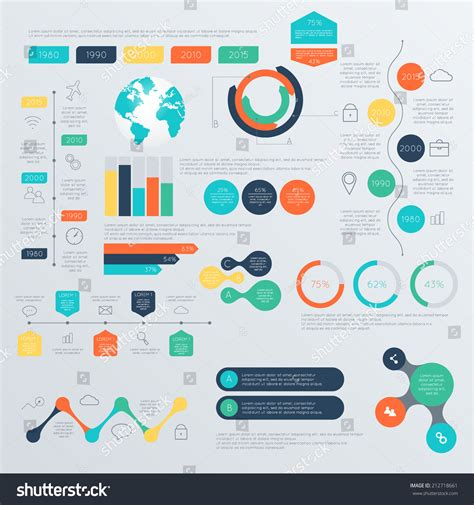 infographics and chart design elements vector set set timeline infographic design templates charts stock