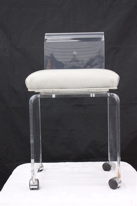 clear acrylic vanity stool vintage mid century modern clear lucite rolling swivel
