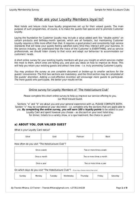 hotel survey template loyalty membership survey sle for hotel leisure