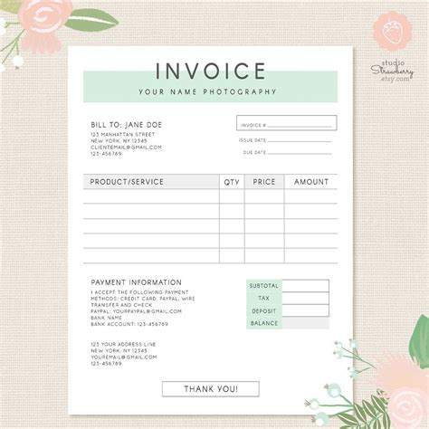 Invoice Template Photography Invoice Business Invoice Receipt Template For Photographers Real Estate Photography Invoice Template