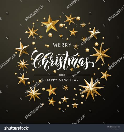 new year greeting gold merry happy new year greeting stock vector