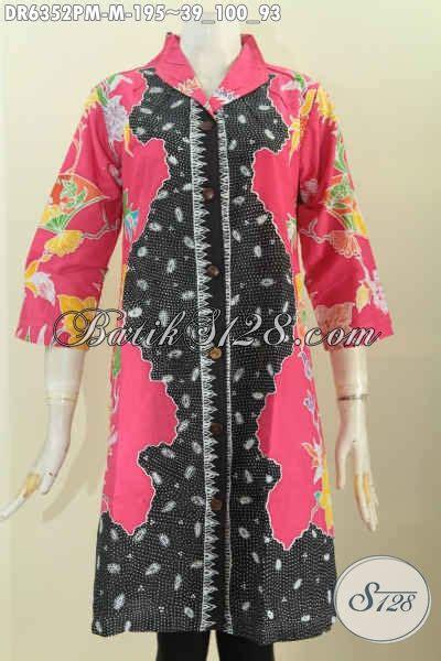 Istimewa Pakaian Wanita Dress Mimi baju batik dress istimewa pakaian batik halus motif kombinasi bahan adem model kerah langsung