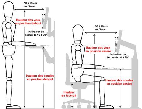 bureau r馮lable en hauteur ergonomique hauteur ergonomie