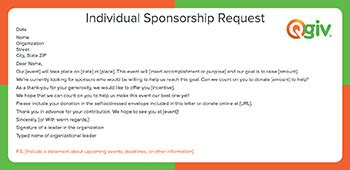 Sponsorship Letter Individual 4 Awesome And Effective Fundraising Letter Templates