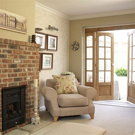 Small Country Living Room Ideas living room with brick fireplace