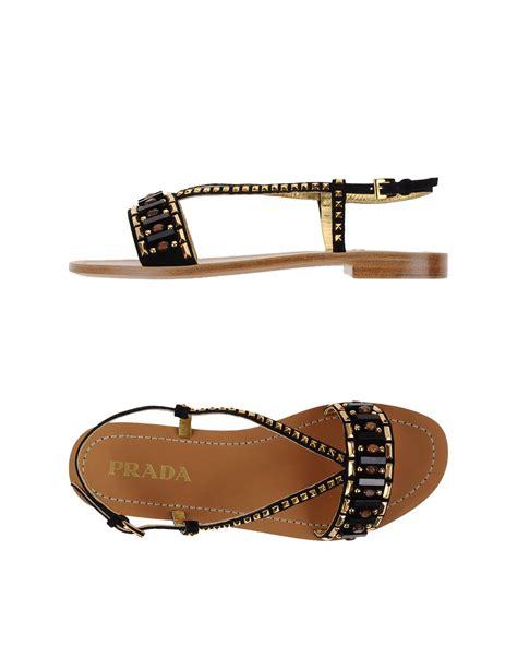 black prada sandals lyst prada sandals in black