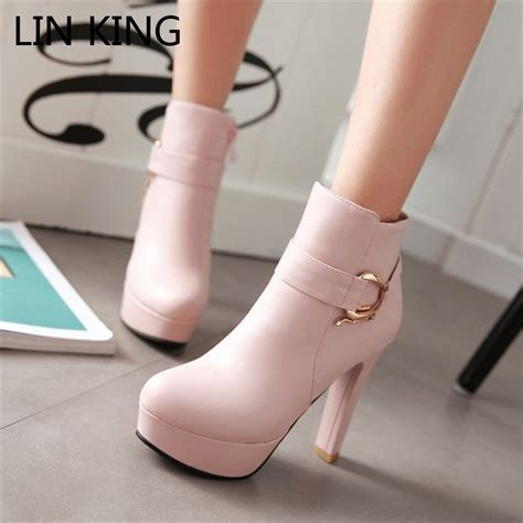 High Heels With Platforms Comfortable by King Womens Faux Leather Comfortable Ankle Boots