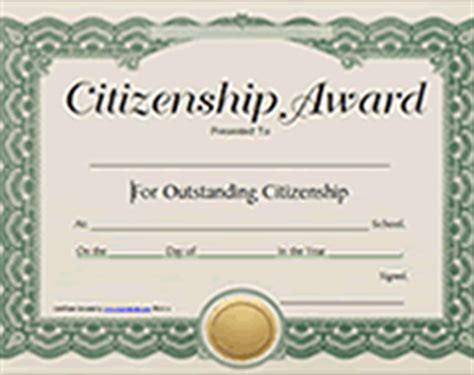 Printable Citizenship Awards School Certificates Templates
