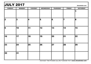 Calendar Blank Blank July 2017 Calendar In Printable Format