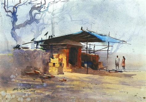 Painting Hiring by Ganesh Hire B 1983 India Watercolor Landscapes With
