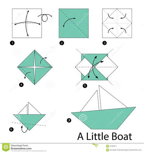 Origamy Boat - free coloring pages step by step how to make