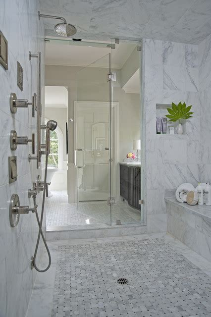 White Tiled Bathroom Ideas by Royal Stone Amp Tile Carrara Marble Bathroom Contemporary