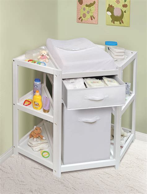 Baby On Changing Table Badger Basket 22009 Corner Baby Changing Table W Her And Basket White