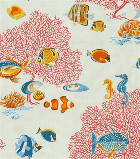 vintage looking home decor coral reef fish fabric stylized retro vintage looking