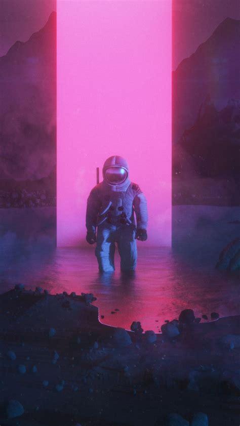 astronaut graphic design synthwave fantasy art
