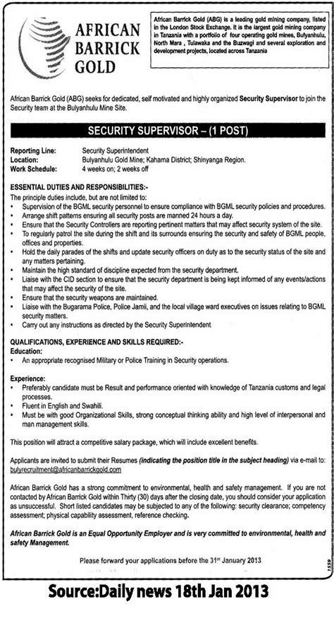 security supervisor tayoa employment portal