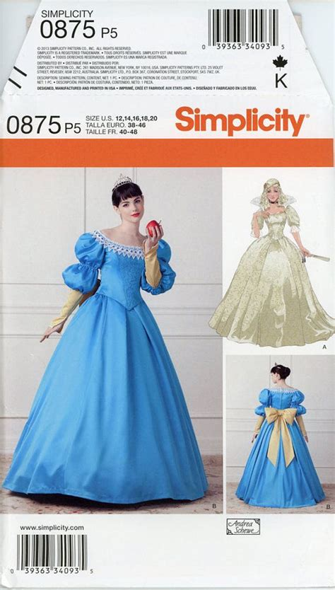 pattern for snow white dress snow white costume pattern simplicity 1728 0875 by