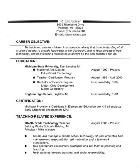 Resume Sles For Experienced Teachers 28 Resume Objective Resume Exles 23 Free Word Pdf Documents
