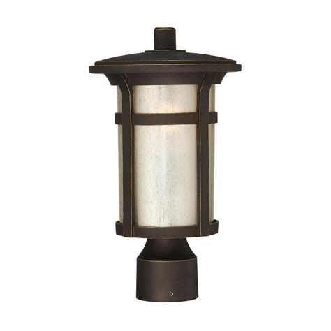 Outdoor Lights At Home Depot Hton Bay Craftsman Post Mount 1 Light Outdoor Rubbed Bronze Lantern 23036 The