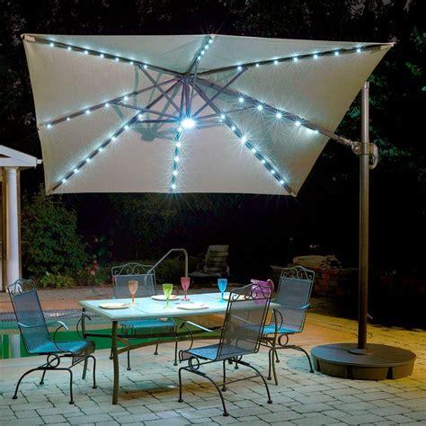 patio umbrella with solar led lights island umbrella santiago 10 ft octagonal cantilever patio