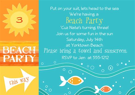 beach themed birthday quotes beach party invitations by jentbydesign on etsy