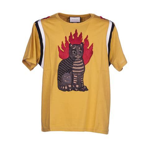 gucci gucci tabby cat motif t shirt yellow s sleeve t shirts italist