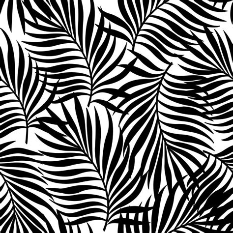 black and white leaf pattern seamless pattern with silhouettes of palm tree leaves in