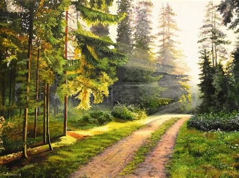 con camino cuadros modernos pinturas y dibujos cuadros de paisajes