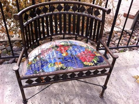mosaic garden bench garden bench in mosaic tile craft ideas pinterest