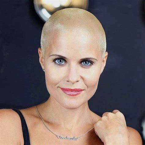 bald women 4c blonde model marina vovchenko rocking a blonde buzz short hair