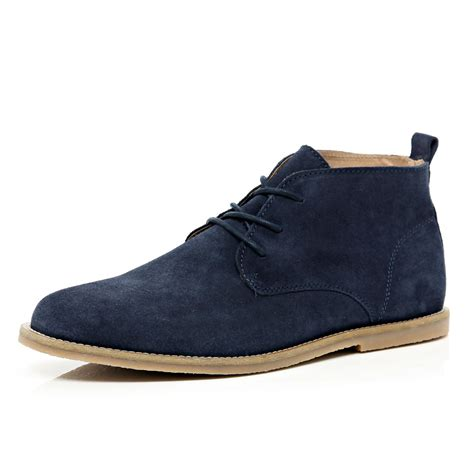 mens navy suede desert boots river island navy suede desert boots in blue for navy