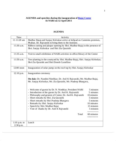 speech schedule template 8 sle ceremony agenda free sle exle format